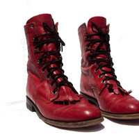 Red Lacer Boots Leather Ankle Combat Work Boots Size 7 B Women US