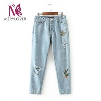 Merylover Cactus Embroidery Hole Jeans Mid Waist Washed Vintage Letter Print Denim Trousers Casual Fashion Streewear Pants lp001