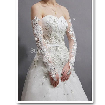 2014sexy gorgeous bride slimming sparkling diamond lace wedding dress gloves long design sexy transparent lucy refers to gloves = 5739454785