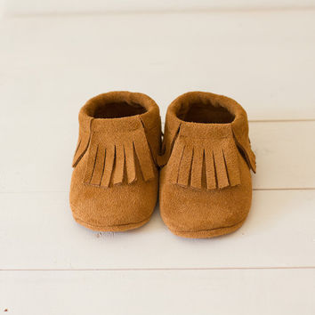 Brown suede baby moccasins  Infant, newborn, toddler shoes