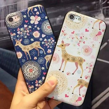 Cute Cartoon Embossment Sika Deer Phone Case For iPhone 7 7 Plus 6 6s Plus 5s 5 SE Soft TPU Lovely Deer Cover For iPhone 7 Case -0402