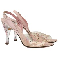 50s Pink Lucite Heels with Floral Painted Embellishment