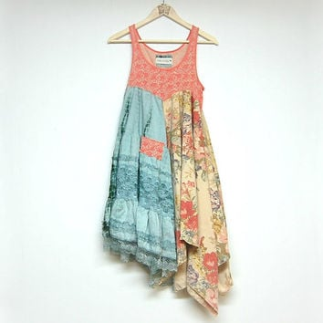 L/XL Hippie Boho Dress, Funky Artsy Dress, Sleeveless Long Top, Eco Upcycled Clothing, Anthropologie Free People Inspired