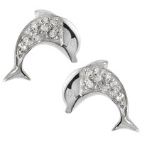 Tressa Collection Dolphin Round Cut Cubic Zirconia Stud Earrings