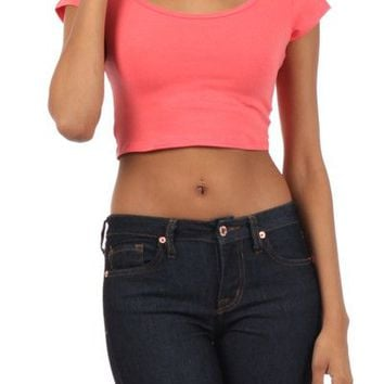 Solid Plain Scoop Neck Short Sleeve Basic Cropped Belly Tee Shirts Top Deep Back