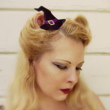 Witch Hat Hair Clip For Women - Halloween Witch Hat - Halloween Hair Clip - Halloween Hair Accessories - Black Witch Hat - Halloween Costume