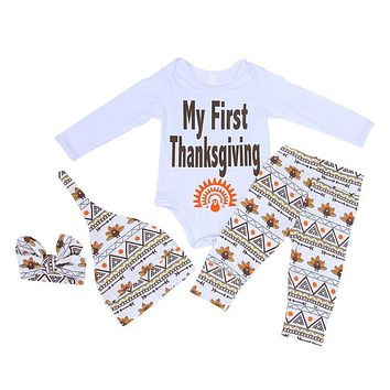 4pcs set Infant Fashion Outfits Newborn Baby Boys Girls Cotton Clothing Thanksgiving Boutique Outfits Kids Clothes
