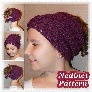 Crochet pattern, crochet Messy Bun hat pattern, crochet pony tail hat pattern, child, teen, adult sizes
