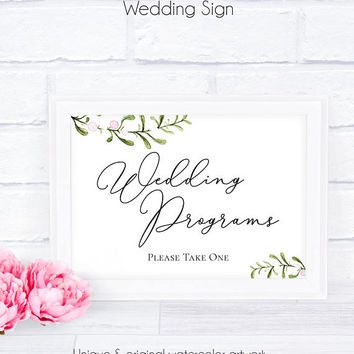Wedding Program PDF Template, Weddings, Printable, Wedding Signage, Reception Sign, Please Take One, Ceremony Sign, Program Printable