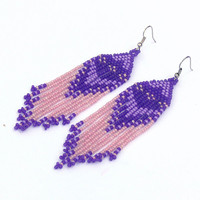 Native American Earrings Inspired. Pink Lilac and Purple Earrings. Dangle Long Earrings. Beadwork
