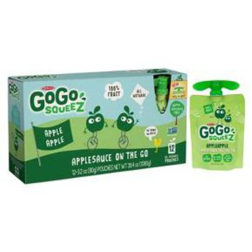 GoGo squeeZ Applesauce On The Go Apple Apple Pouches 3.2 oz 12 ct