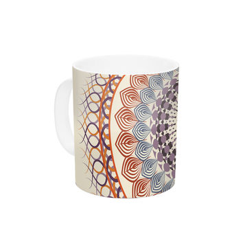 "Famenxt ""Vintage Mandala"" Yellow Multicolor Ceramic Coffee Mug"