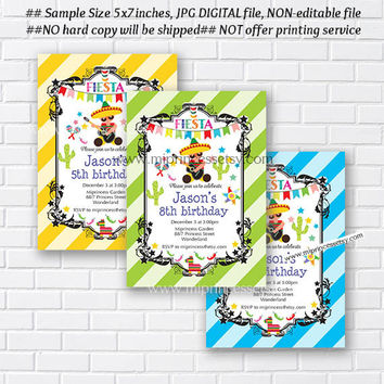 Mexican guy Fiesta Birthday invitation, Birthday Invitation for any age, little boy birthday Colorful Festive party - card 863