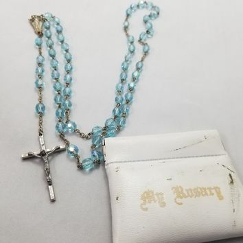 Mid Century ice blue aurora borealis glass beaded vintage rosary with case