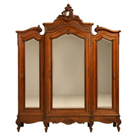 1STDIBS.COM - Antiques on Old Plank Road - Exquisite Antique French Rococo Triple Walnut Armoire w/Mirrors