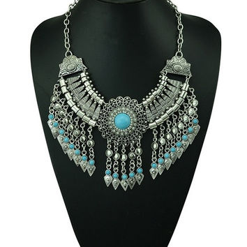 Bohemian Style Silver Chain Long Tassels Statement Necklace Carving Flower Turquoise Turkey Jewelry (Size: 143 g, Color: Blue)