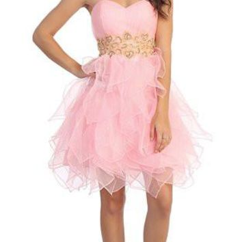 Studded Strapless Short Ruffled Skirt Pink/Gold Party Dress