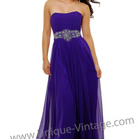Purple Chiffon Empire Waisted Beaded Gown