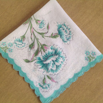 Vintage 50's Handkerchief Hankie Aqua Floral Pretty Scalloped Edge Carnations