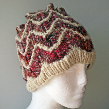 Handspun Knitted Hat, Red Cream Hat, Red, Brown  Hat, Merino Handspun Beanie, Artisan Handspun Knitted Toque, Designer Handspun Knitted Cap