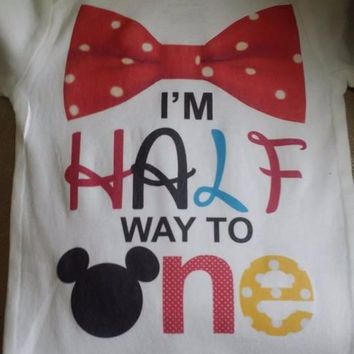 Half Way to One 6 month Birthday Mickey Mouse Shirt