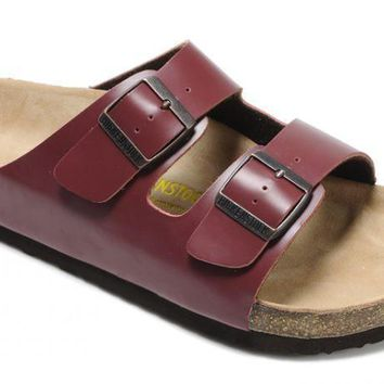 Birkenstock Arizona Sandals Leather Wine Red - Ready Stock