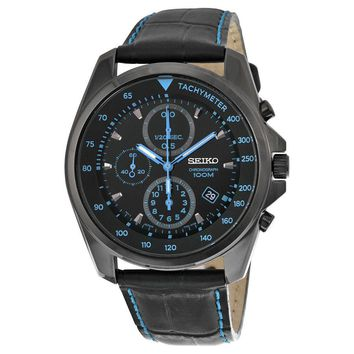 Seiko Chronograph Black Dial Black PVD Stainless Steel Leather Mens Watch SNDD71
