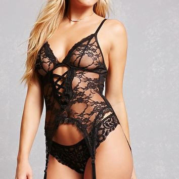 Sheer Lace Garter Teddy