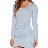 Bella Luxx Marble Raglan Tulip Dress in Blue