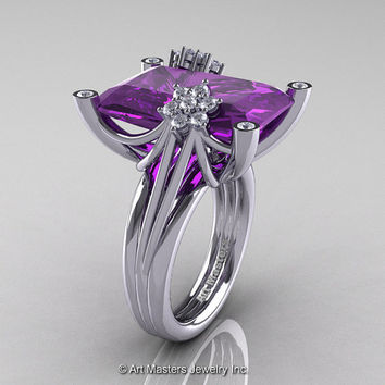 Modern Bridal 10K White Gold Radiant Lavender Amethyst Diamond Fantasy Cocktail Ring R292-10KWGDAM