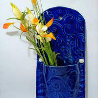 Blue Ceramic Wall Pocket, Clay Wall Art, Home Decor, Wildflower Wall Vase, Blue Wall Pocket
