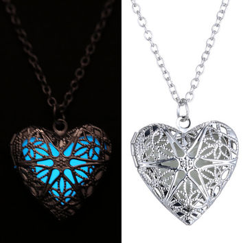 NEW 2015 Hollow Heart Pendant Luminous Glow In The Dark Silver Locket Necklace with UV Torch Gift Women Teen Hot Trending Clubs Concerts