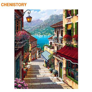 CHENISTORY Coffee Shop Street DIY Painting By Numbers Hand Painted Oil Painting On Canvas Wall Art Picture For Room Decoration