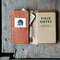 Leather Travel / Passport / Field Notes Wallet - English Tan