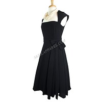 Rockabilly Vamp Plus 60's Vintage design Black Belted Party Dress with Bow Accent