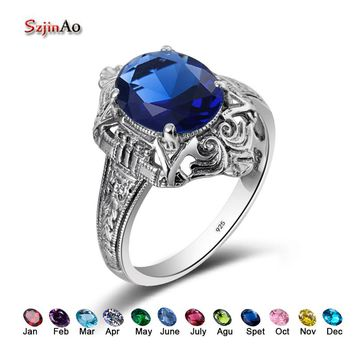Szjinao 925 Sterling Silver Engagement Birthstone Rings Vintage 2.3CT Blue Rhinestone DIY Love Star Rings Jewelry Free Gift Box