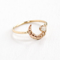 Antique 14k Yellow Gold Crescent Moon Seed Pearl Ring - Victorian Art Nouveau Repousse Stick Pin Conversion Fine Jewelry