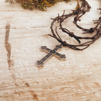 "Leather Necklace, Southwestern Barb Wire ""Fence"" Large Cross, Country Western Lover. Magnetic Clasp. Support a Christian Ministry!"