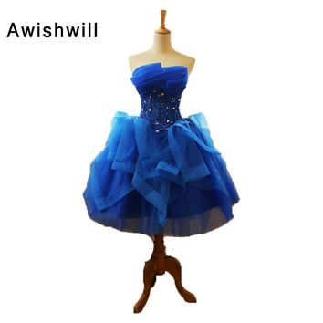 New Arrival 2018 Short Prom Dress Knee-Length Strapless Beaded Appliques Organza Ball Gown Prom Dress Party Dress Royal Blue