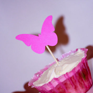 Cupcake Toppers - pink butterfly - girls party - baby shower