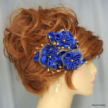 Royal Blue Satin Gold Sparkle Organza Beaded Flower Trio Wedding Hair Accessory Set of 3