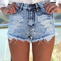 Acid Wash Denim Cutoff Shorts