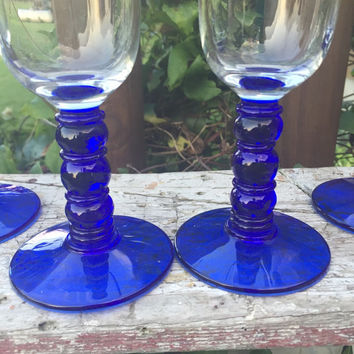 vintage glassware, set of cobalt blue bubble stemmed champagne flute, champagne toasting glasses, blue wedding toasting glasses, retro glass