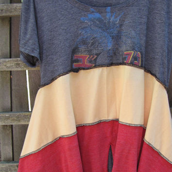 Plus Size Tunic Shirt Lagenlook Upcycled/ Funky Asymmetrical Red Yellow Gray Eco Blouse/ Hi Lo Womens Tops L/XL
