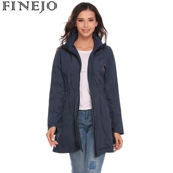 FINEJO Autumn Women Trench Coats 2017 Casual Lightweight Travel Waterproof Raincoat Hooded Drawstring Hem Trench Outerwear Coats