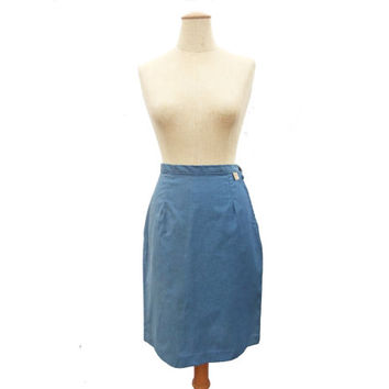 Unworn Vintage 60s Blue Skirt size Large Pencil Skirt NWT Metal Size Zipper Fitted Cotton Skirt