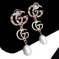 GUCCI S925 Silver Needle Stylish Women Delicate Colorful Diamond Double G Letter Pearl Pendant Earrings Accessories Jewelry