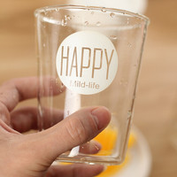 HAPPY glass cup gift mug