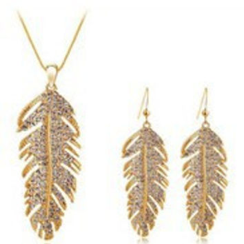 Crystal Feather Plume Necklace + Earring Set in Silver or Gold