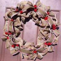 Christmas Wreath in Burlap for Front Door